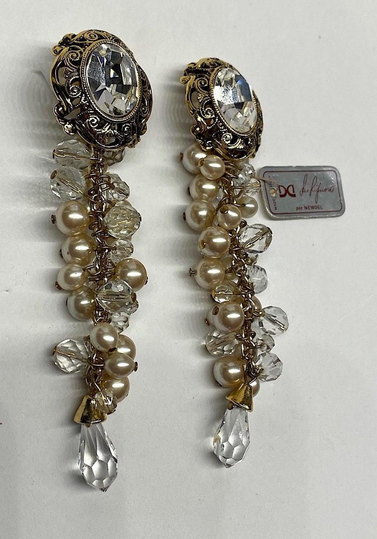 Gianni De Liguoro Crystal & Pearl bead and Rhinestone 1980s Dangle Earrings For Sale 2