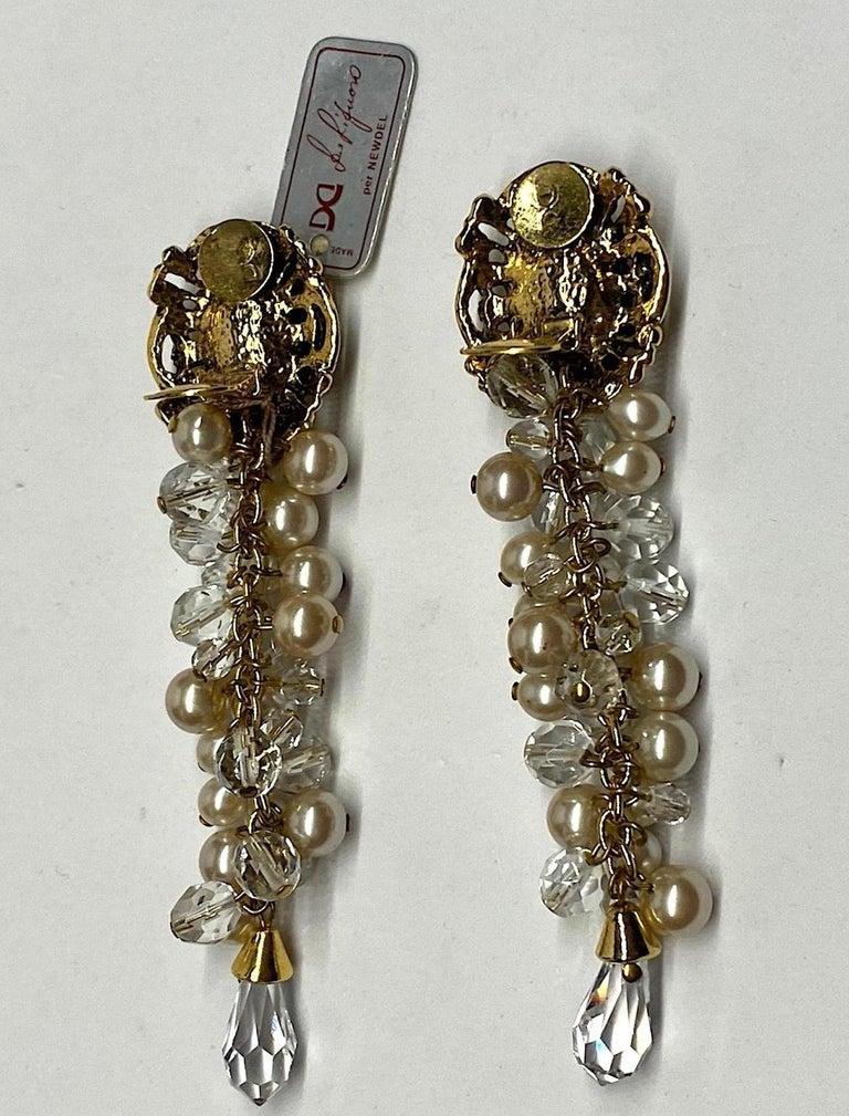 Gianni De Liguoro Crystal & Pearl bead and Rhinestone 1980s Dangle Earrings For Sale 3