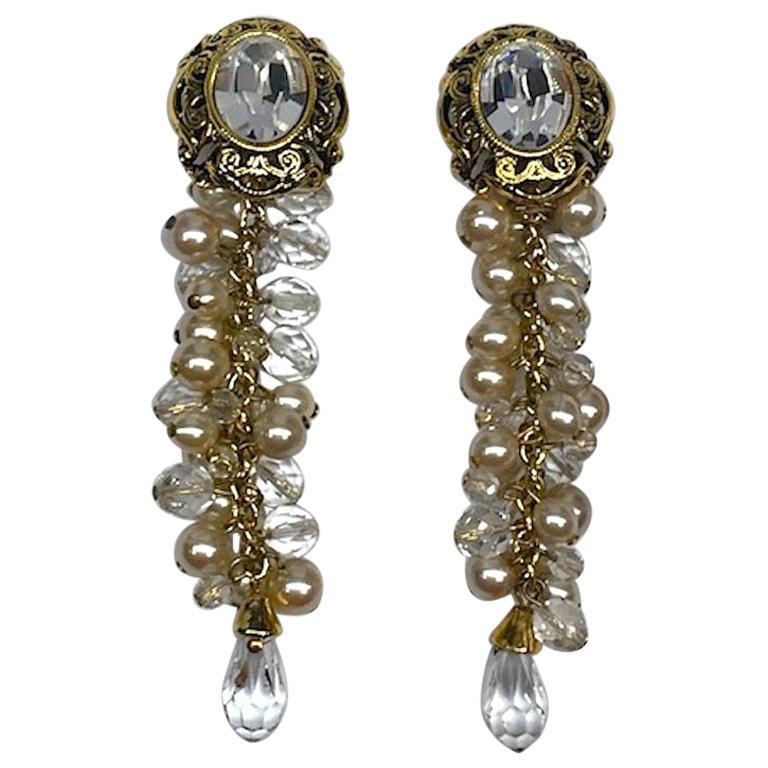 Gianni De Liguoro Crystal & Pearl bead and Rhinestone 1980s Dangle Earrings For Sale