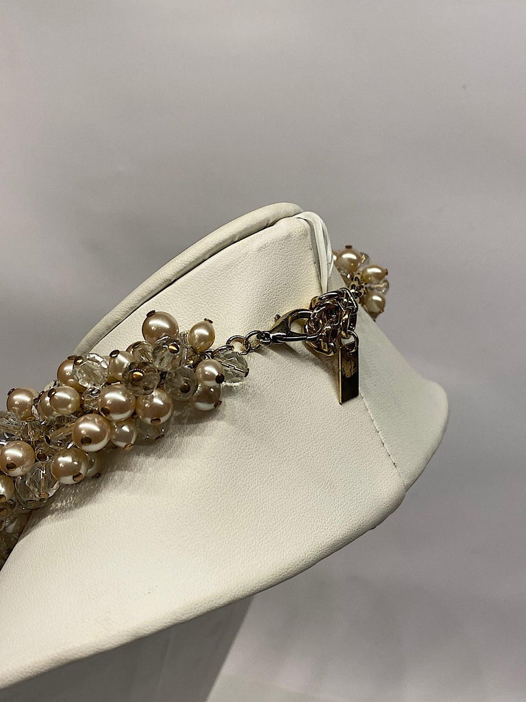 Gianni De Liguoro Crystal, Pearl bead and Rhinestone 1980s Necklace For Sale 6