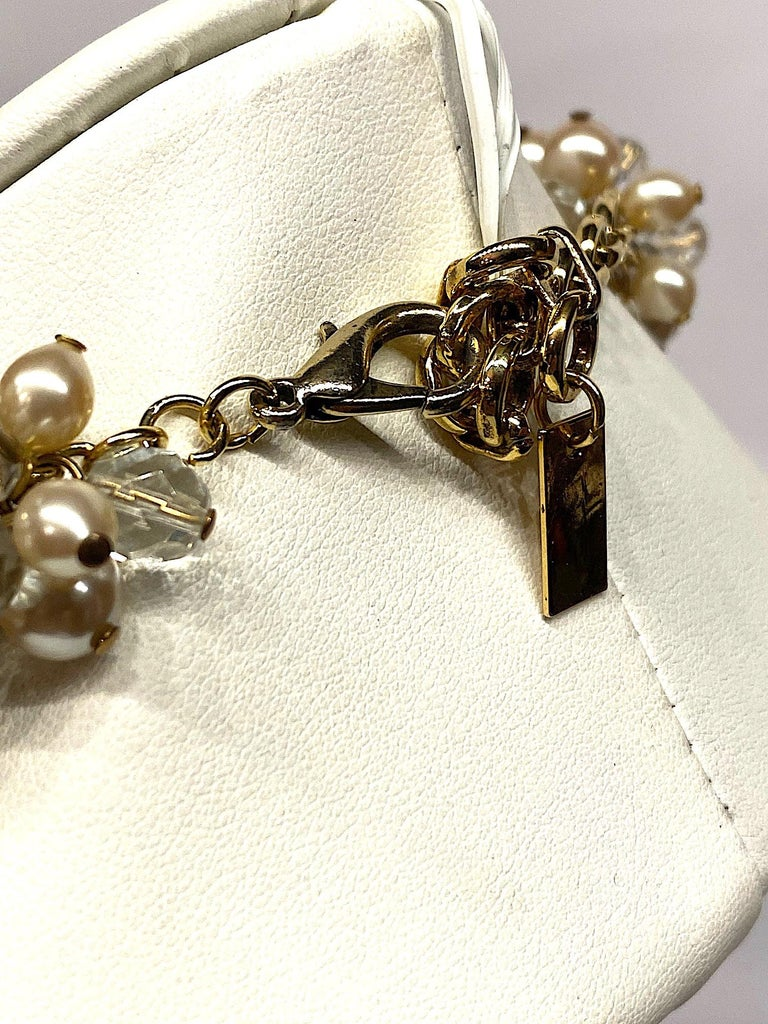 Gianni De Liguoro Crystal, Pearl bead and Rhinestone 1980s Necklace For Sale 7