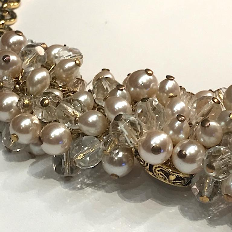 Gianni De Liguoro Crystal, Pearl bead and Rhinestone 1980s Necklace For Sale 9