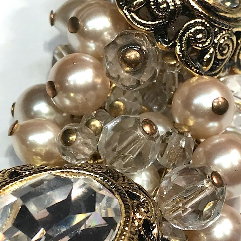 Gianni De Liguoro Crystal, Pearl bead and Rhinestone 1980s Necklace For Sale 10