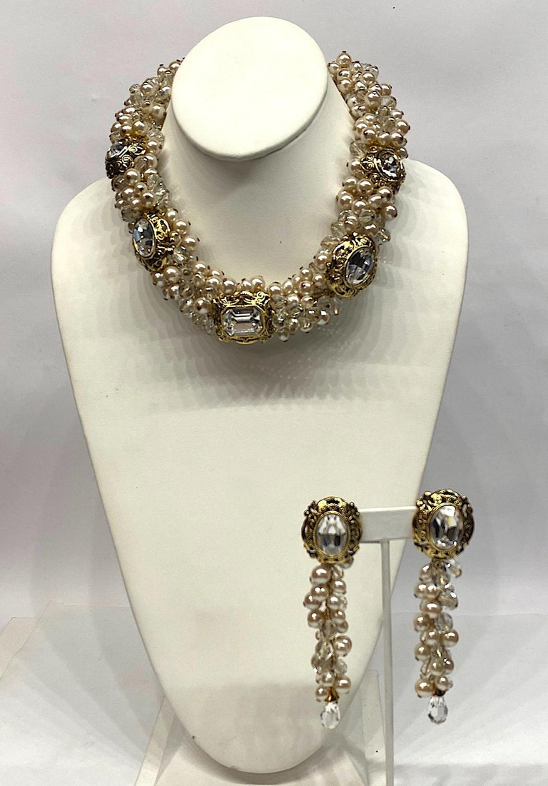 Gianni De Liguoro Crystal, Pearl bead and Rhinestone 1980s Necklace For Sale 12