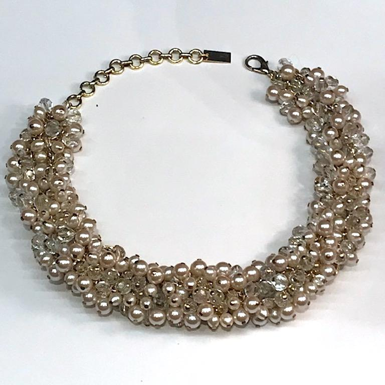 Gianni De Liguoro Crystal, Pearl bead and Rhinestone 1980s Necklace In Good Condition For Sale In New York, NY