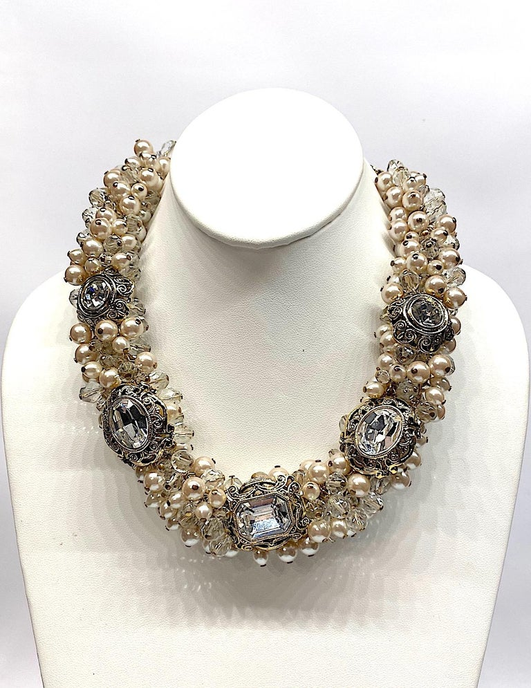 Gianni De Liguoro Crystal, Pearl bead and Rhinestone 1980s Necklace For Sale 1