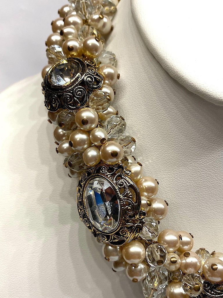 Gianni De Liguoro Crystal, Pearl bead and Rhinestone 1980s Necklace For Sale 3