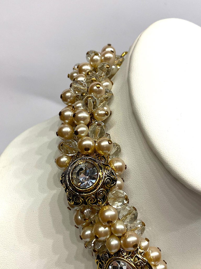 Gianni De Liguoro Crystal, Pearl bead and Rhinestone 1980s Necklace For Sale 4