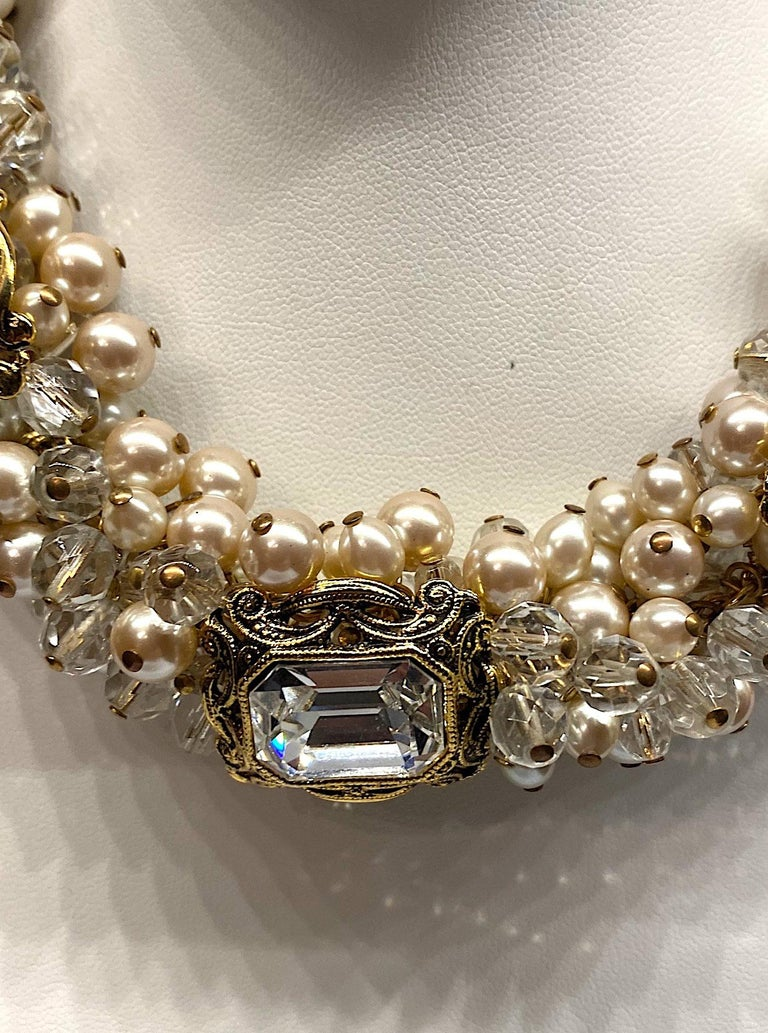 Gianni De Liguoro Crystal, Pearl bead and Rhinestone 1980s Necklace For Sale 5