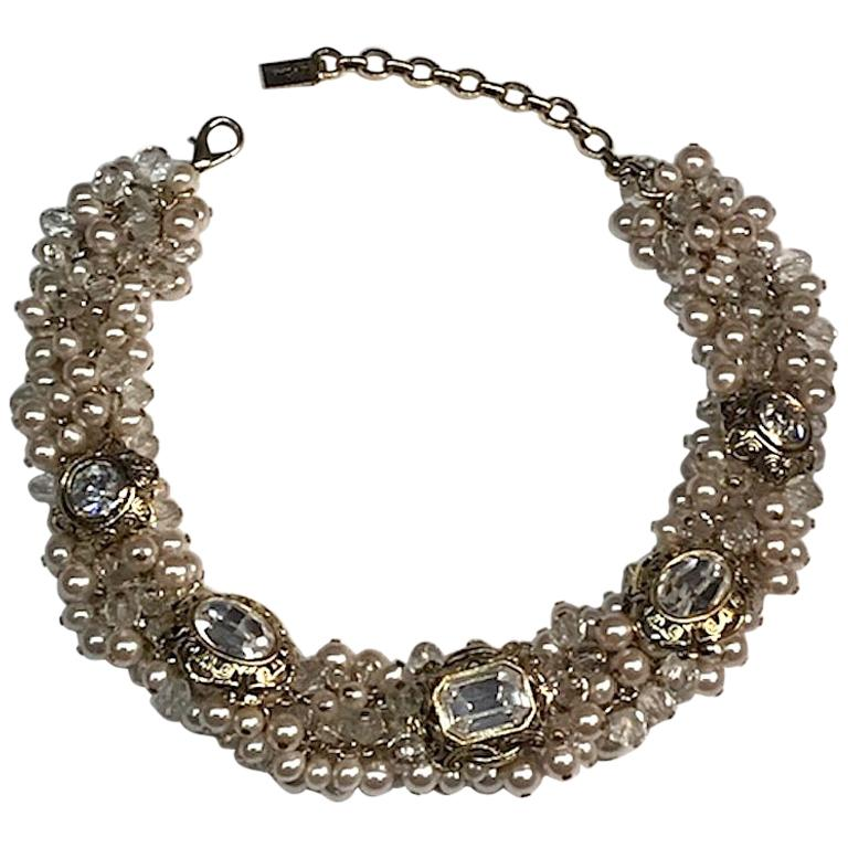 Gianni De Liguoro Crystal, Pearl bead and Rhinestone 1980s Necklace For Sale
