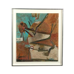 Gianni Dova Contemporary Enamel On Canvas, Spring Story 1961