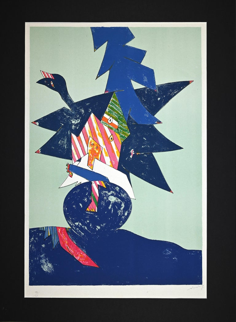 Blue Composition is original lithograph realized by Gianni Dova (1925-1991).  Hand-signed on the lower right in pencil and numbered on the lower left, from the edition of 122/125 prints.  Included a Black passepartout:75 x 55 cm.  Very good