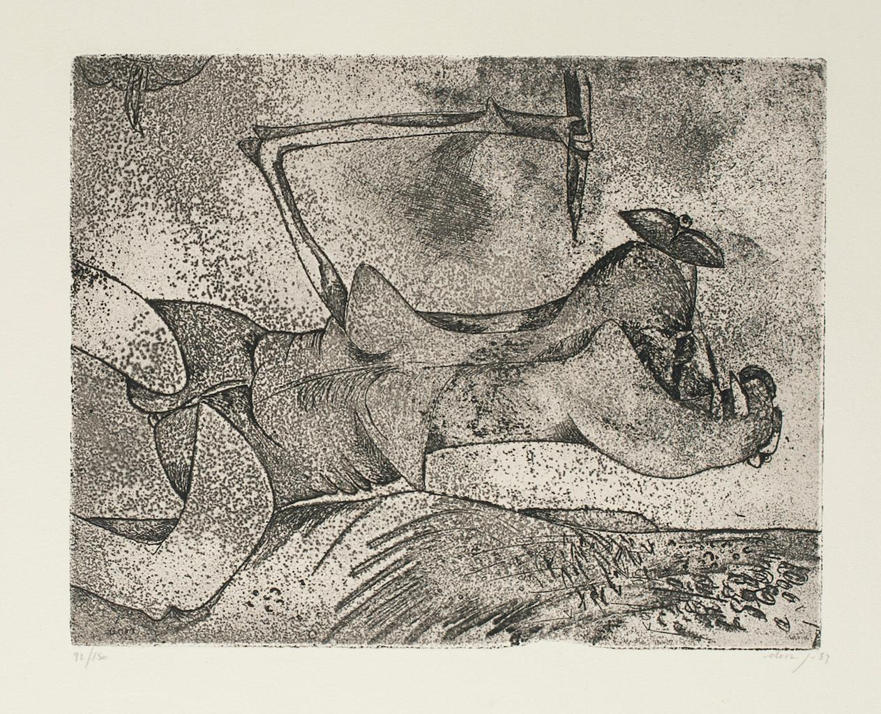 Figure in Space - Original Etching by Gianni Dova - 1970