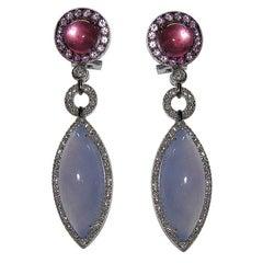 Gianni Lazzaro Chalcedony Rose Sapphire Tourmaline Diamonds White Gold Earrings