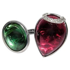 Gianni Lazzaro Green and Cherry Cabochon Tourmaline White 18K Gold Diamond Ring