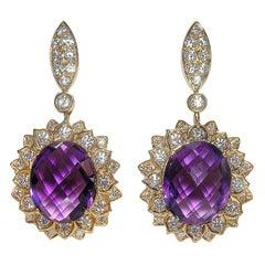 Gianni Lazzaro Impressive 15.46 Carat Amethyst Diamonds Yellow 18k Gold Earrings