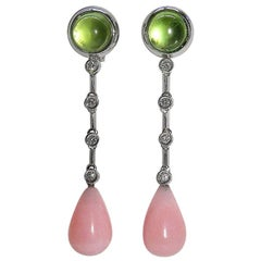 Gianni Lazzaro Peridot Rose Cabochon Opal Diamonds White 18K Gold Drop Earrings