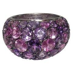 Gianni Lazzaro Pink Sapphire 4.76 Carat Amethyst 18 Karat White Gold Dome Ring