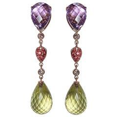 Gianni Lazzaro Rare Orange Sapphire Amethyst Diamonds Citrine 18K Gold Earrings