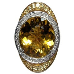 Gianni Lazzaro Rare Yellow Sapphire 12.13 Ct Beryl Diamond Yellow 18K Gold Ring