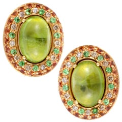 Gianni Lazzaro Rose Gold Brown Diamond, Peridot, Sapphire and Tsavorite Earrings