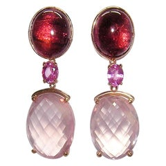Gianni Lazzaro Rose Quartz Sapphire Tourmaline Diamonds Citrine Gold Earrings