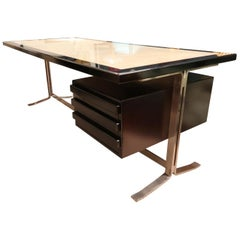 Gianni Moscatelli for Formanova Steel, Parchment and Wood Midcentury Desk, 1960