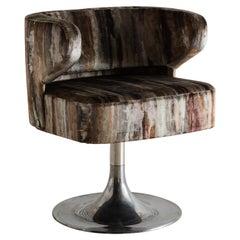 Gianni Moscatelli for Formanova Tulip Base Swiveling Desk Chair in Painterly Vel