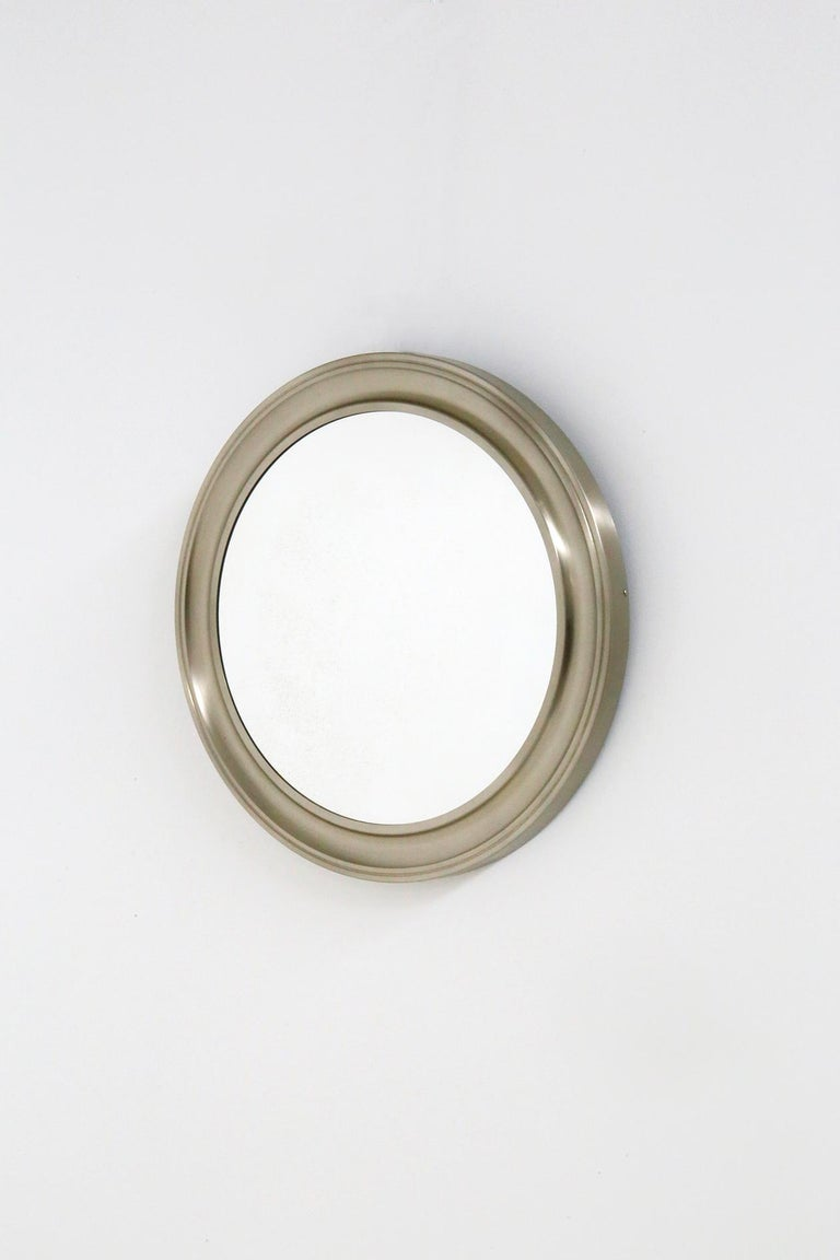 Mid-Century Modern Gianni Moscatelli Round Nickel Wall Mirror Midcentury for Formanova, 1970s For Sale