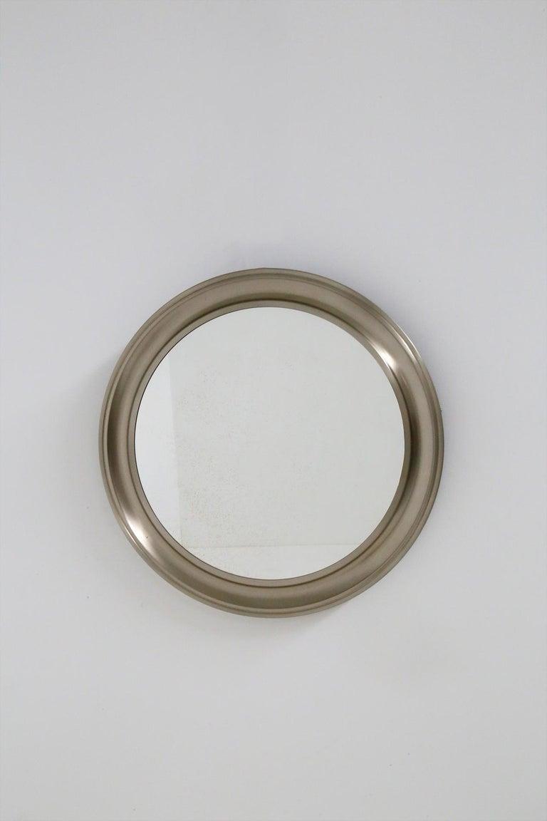 Italian Gianni Moscatelli Round Nickel Wall Mirror Midcentury for Formanova, 1970s For Sale