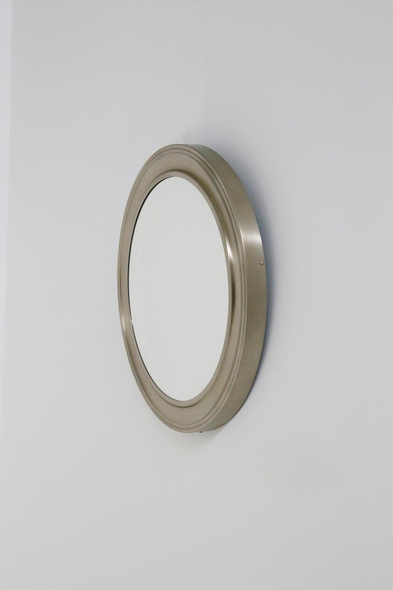 Late 20th Century Gianni Moscatelli Round Nickel Wall Mirror Midcentury for Formanova, 1970s For Sale