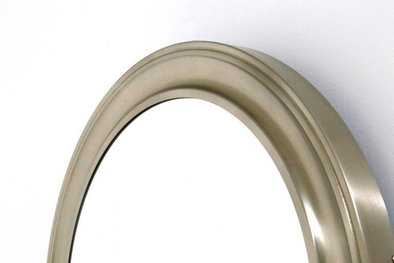 Metal Gianni Moscatelli Round Nickel Wall Mirror Midcentury for Formanova, 1970s For Sale