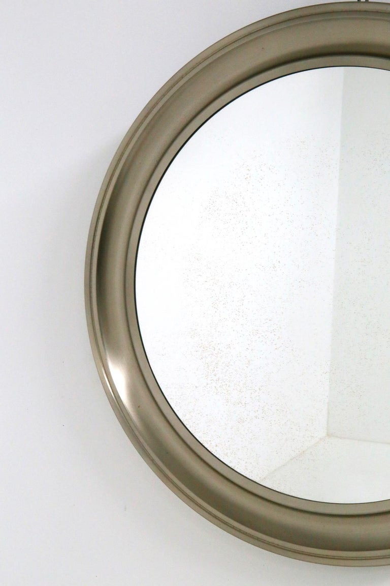 Gianni Moscatelli Round Nickel Wall Mirror Midcentury for Formanova, 1970s For Sale 1