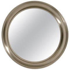 Gianni Moscatelli Round Nickel Wall Mirror Midcentury for Formanova, 1970s