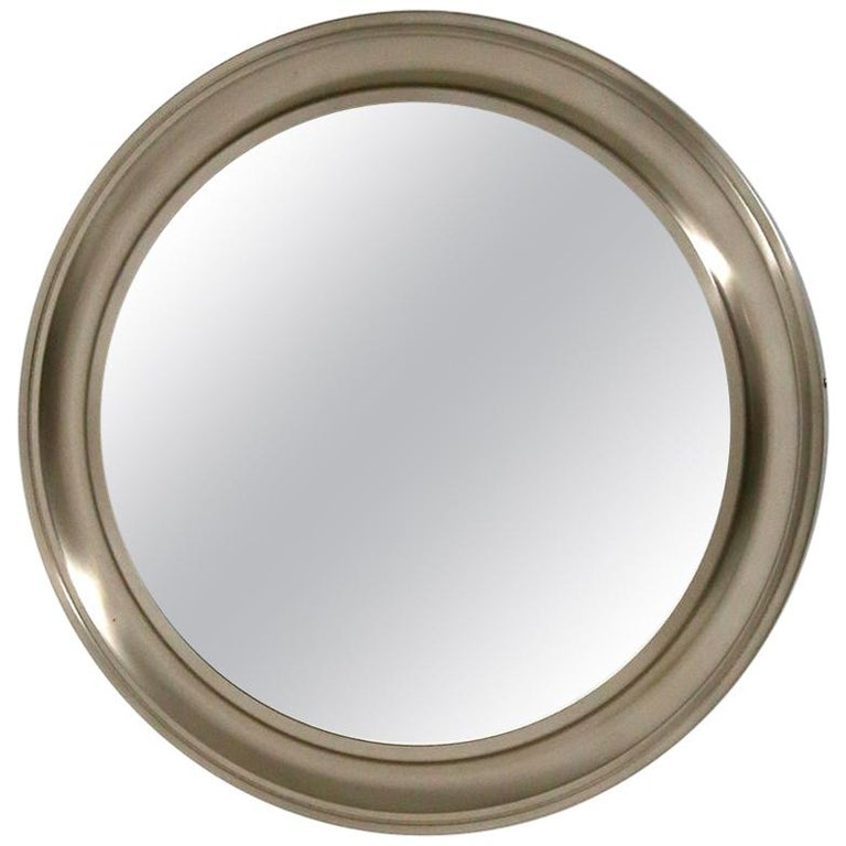 Gianni Moscatelli Round Nickel Wall Mirror Midcentury for Formanova, 1970s For Sale
