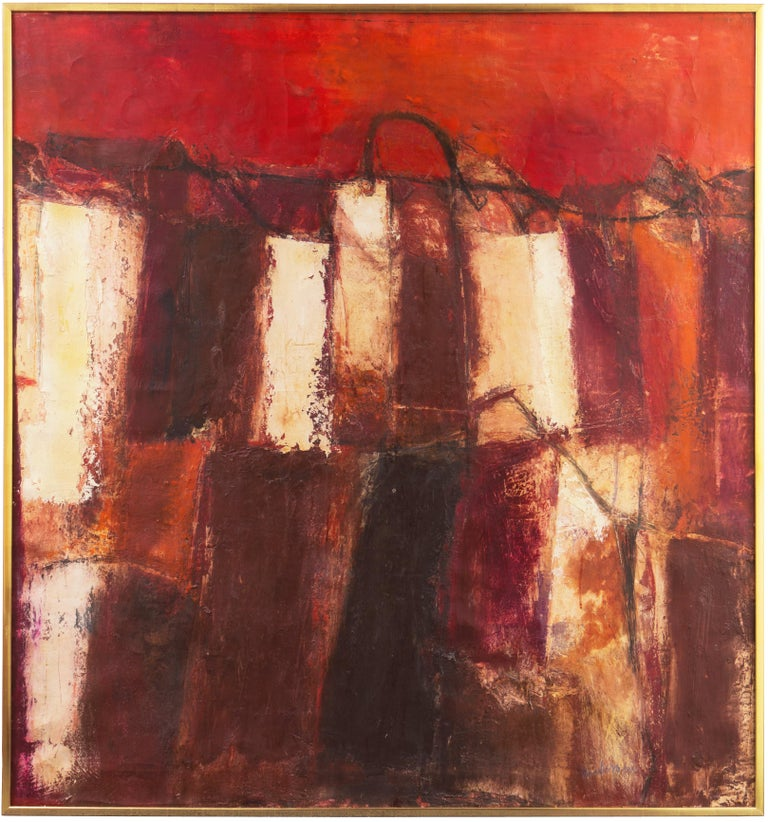 Fendi Shopping Bag Landscape  (Italian, Modernism, Mid-century, Red, Fashion) - Painting by Gianni Pisani
