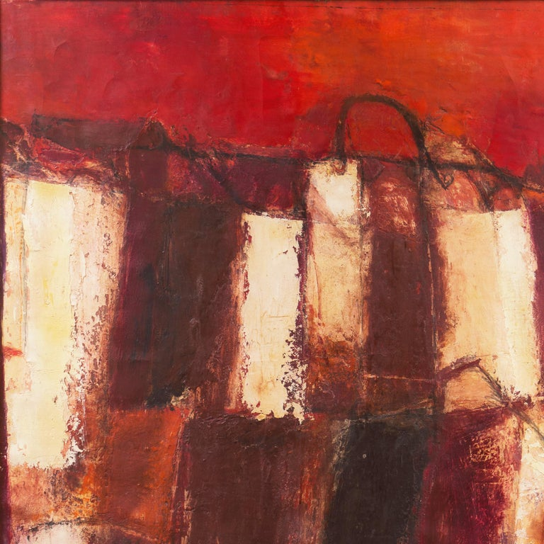 A large, mid-century oil landscape comprising a view of abstracted shopping bags in Fendi's signature shades of cream, bistre and scarlet contrasted against a dramatic coral sunset.   Signed lower right 'G. Pisani', titled verso 'Paesaggio con