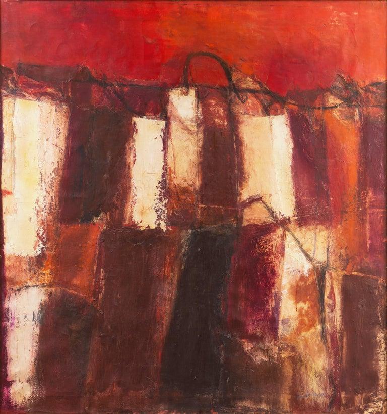Gianni Pisani Landscape Painting - Fendi Shopping Bag Landscape  (Italian, Modernism, Mid-century, Red, Fashion)