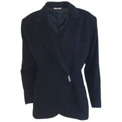 Gianni Versace 1980s Black Wool Blazer with Silver Toggle Style Buttons