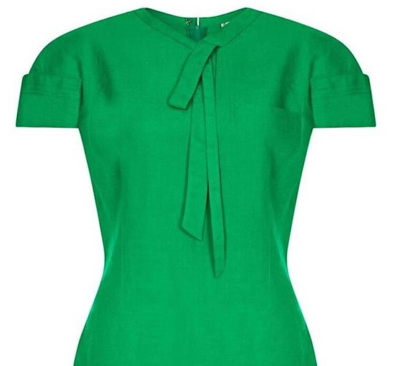 Gianni Versace 1980s Emerald Green Linen Mod Dress In Excellent Condition For Sale In London, GB