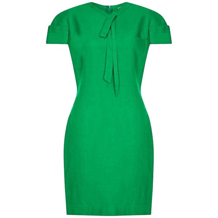 Gianni Versace 1980s Emerald Green Linen Mod Dress For Sale