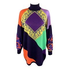 GIANNI VERSACE 1980's Purple Orange Green & Yellow Baroque Wool Sweater