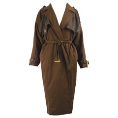 Gianni Versace 1980s Vintage Womens Brown Leather & Cotton Batwing Trenchcoat