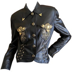 Gianni Versace 1990 Lambskin Leather Moto Jacket with Gold Embellishment