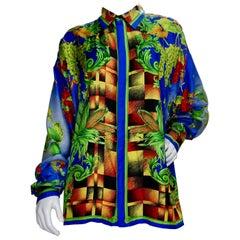 "Gianni Versace 1990s ""Autumn Nature"" Silk Shirt"