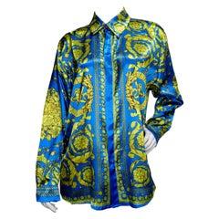 Gianni Versace 1990s Baroque Motif Silk Shirt
