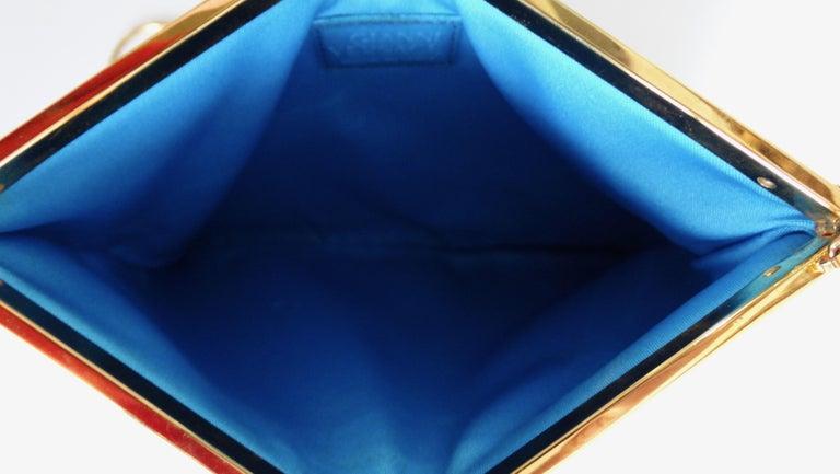 Blue Gianni Versace 1990s Baroque Print Satin Shoulder Bag For Sale