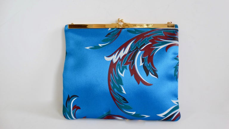 Gianni Versace 1990s Baroque Print Satin Shoulder Bag In Good Condition For Sale In Scottsdale, AZ