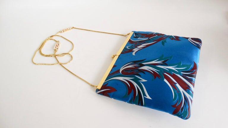 Gianni Versace 1990s Baroque Print Satin Shoulder Bag For Sale 3