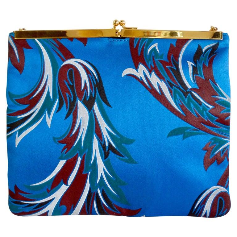 Gianni Versace 1990s Baroque Print Satin Shoulder Bag For Sale